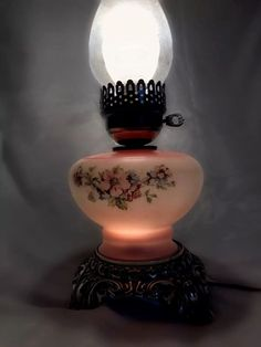 "Antique Parlor Oil Lamp Floral Filigree Cast Metal Base Double Lighted 17"" Tall  