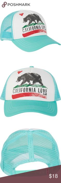 | california ❤️ trucker hat | Show Cali some love! The deets: EUC mint billabong california love trucker hat | snapback style | perfect for those lazy days in the sun! | contact for questions | 🚫trades/lowballing/drama🚫 Billabong Accessories Hats