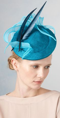 Jane Taylor Millinery - Couture Collections, Bluebell - Percher cocktail hat with feather & Twirl.