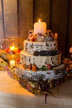 Kerissa's birch bark cake #wedding cakes #catering #Hudson Valley #desserts http://www.bluemountainbistro.com