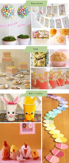 Awesome Easter Ideas.  Plastic egg topiary, garland, tasty food ideas, and a few kids crafts.
