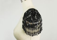 Black Beaded And Sequin Fringed Epaulet Applique / Fringe Epaulettes / Rockstar / Fashion Apparel / Costume / Diva / Bustier Bra Cups Shoulder Jewelry, White Costumes, Fabric Tape, Steampunk Diy, Off Black, Couture, Bridal Lace, Lace Applique, Diy Fashion