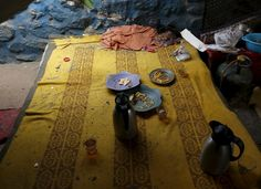 An abandoned breakfast is seen in a tea shop after a suicide bombing at a nearby government building in Kabul, Afghanistan.
