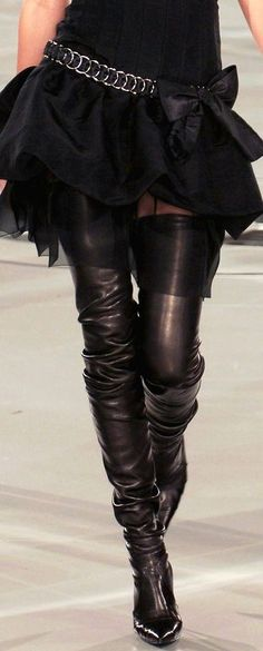 Here's how I would do this, just ove rthe knee boots with Tiffie Leg Sleeves (coming soon) to create the effect #Chanel #Brand #Style
