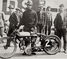 Victor Horsman testing his new Triumph ohv design at Brooklands