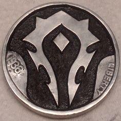 DIMAS SÁNCHEZ MORADIELLOS HOBO NICKEL - SHIELD OF THE HORDE OF WARCRAFT - 1936 BUFFALO NICKEL Hobo Nickel, Horde, Porsche Logo, Buffalo, Cactus, Coins, Carving, Art, Style