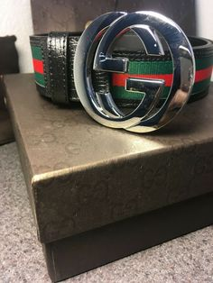 0892271c2f8 Gucci Belt Waist Size 32 Black Red and Green Sliver Interlocking GG  Guccissima  fashion