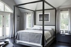 Charcoal And Silver Grasscloth Wallpaper in the most gorgeous grey and silver bedroom!
