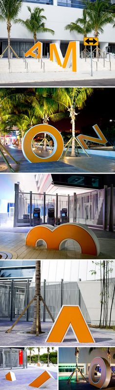 Alex Mustonen and Daniel Arsham, reconstructed the letters from the old Miami Orange Bowl and whimsically scattered around the east plaza of the new Marlins Ballpark. Created as a sort of memorial to the stadium that was demolished in Environmental Graphic Design, Environmental Graphics, Wayfinding Signage, Signage Design, Visual Merchandising, Landscape Architecture, Landscape Design, Exterior Signage, Displays