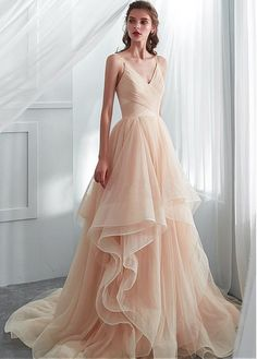 5a7d99423f6d Buy discount Attractive Tulle Spaghetti Straps Neckline A-line Wedding  Dresses With Ruffles at Dressilyme. dressilyme.com