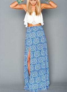 Blue patterned maxi skirt with a slit