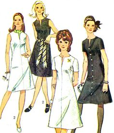 1970s Dress Pattern Simplicity 9221 Mod Split Neck by paneenjerez, $10.00