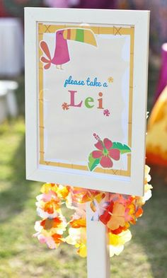Please take a lei at a Luau Birthday Party! See more party ideas at CatchMyParty.com!