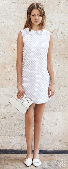 Embrace Sixties chic with a Peter Pan–collar shift and pointy-toe loafers | Tory Burch Summer 2014