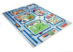Little Helper 121MD033MA80103 IVI Hypoallergener Dicker 3D-Kinderspielteppich, 80 x 100 cm, blau