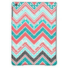 Trendy Coral, Mint, White and black Chevron iPad Air Cases