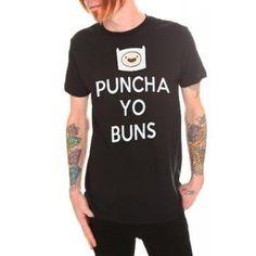"Adventure Time Finn's head ""PUNCHA YO BUNS"" black T-shirt"