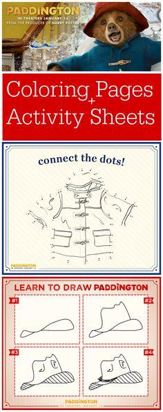 Paddington Bear Free Coloring Pages and Activity Sheets for download #PADDINGTONMOVIE
