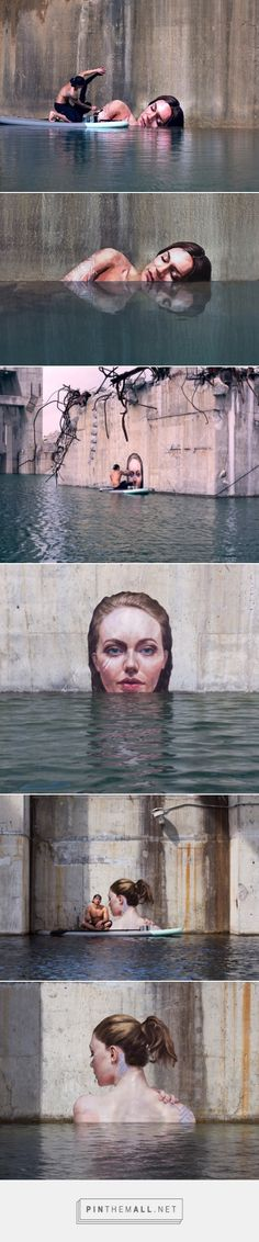 SEAN YORO PAINTS HYPERREAL SEA LEVEL PORTRAITS ON HIS SURFBOARD  Using a surfboard, young Hawaiian artist Sean Yoro (aka Hula), paints murals while balancing on his board, placing his works just above sea level.   The murals, all portraits of women, have a hyperrealistic quality that appear as if each is existing just above the tide.