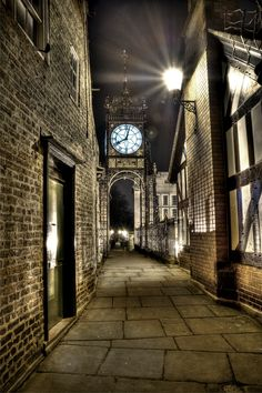 Eastgate Clock at night, Chester, England, UK