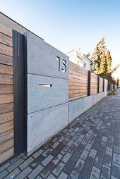 Concrete and wood fence. Concrete and wood fence. Tor Design, Gate Design, Exterior Design, Interior And Exterior, House Cladding, Modern House Design, House Fence Design, Modern Fence Design, Backyard Fences