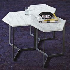 With its white marble top, raw steel base and hexagonal shape, the Hex Side Table can be used as more than just a sidekick to a sofa. Place a few side by side to use as a coffee table in a larger honeycomb arrangement. Marble Furniture, Steel Furniture, Design Furniture, Modern Furniture, Home Furniture, Luxury Furniture, Furniture Ideas, Iron Maden, Coffe Table