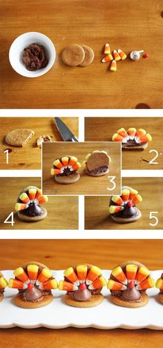 turkey cookies with ginger snaps, kisses, chocolate frosting and candy corn (if you have any left from Halloween!)