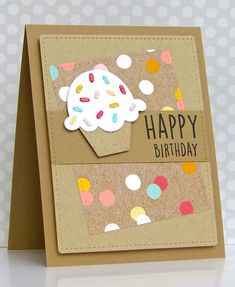 Pretty Periwinkles: CAS (E) This Sketch # 168 - Birthday - Cupcake - Diy☆ - Creative Birthday Cards, Beautiful Birthday Cards, Homemade Birthday Cards, Birthday Cards For Women, Diy Birthday, Creative Cards, Homemade Cards, Birthday Cupcakes, Funny Birthday