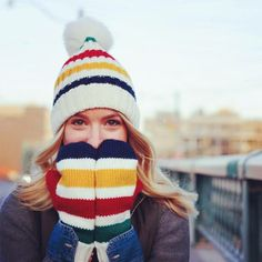 stay warm in Stripes this season Hand Knitted Sweaters, Knit Mittens, Knitted Hats, Hudson Bay Blanket, Handgestrickte Pullover, Fall Knitting, Knit Crochet, Crochet Hats, Beanies