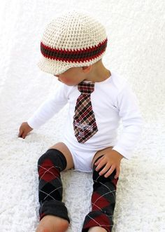 Baby Boy Personalized Tie Onesie. 1st Thanksgiving, Christmas, Harvest, Autumn and Leg Warmers SET. Houndstooth, Plaid, Herringbone