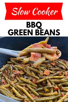 Slow Cooked Green Beans, Bbq Beans, Green Beans With Bacon, Cooking Green Beans, Easy Baked Beans, Slow Cooker Baked Beans, Slow Cooker Bbq, Slow Cooker Recipes