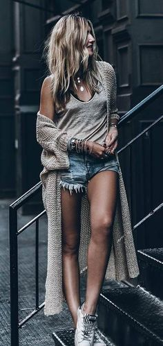 trendy outfit of the day: denim shorts + maxi cardigan