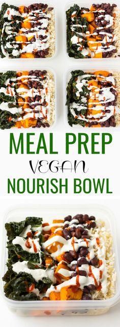 Nourish Bowl Vegan Meal Prep with brown rice, sweet potatoes, kale, black beans, cashew cream and Sriracha! #vegan #glutenfree via @noracooks