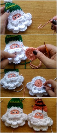 p/crochet-santa-applique-simple-christmas-project-annick-bouffay-alles-handwerk delivers online tools that help you to stay in control of your personal information and protect your online privacy. Knit Christmas Ornaments, Crochet Christmas Decorations, Crochet Ornaments, Christmas Knitting, Crochet Crafts, Yarn Crafts, Crochet Projects, Christmas Crafts, Simple Christmas