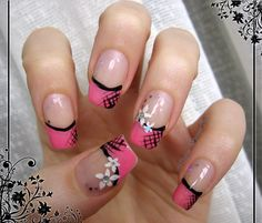 Pink french with flowers #nailart - bellashoot.com