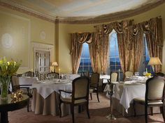 The Lady Helen restaurant at Mount Juliet is our Michelin Star restaurant overlooking the river nore. This gorgeous dining room is the ideal setting for dining at Mount Juliet Estate. Mount Juliet, Georgian Mansion, Spa Breaks, Luxury Wedding Venues, Luxury Accommodation, 5 Star Hotels, Fine Dining, Lodges, Cottage