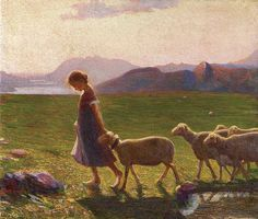 Giovanni Sottocornola  With Sheep at End of Day 1912