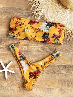 5a6e2dad48 Shop for Strapless Floral High Cut Bikini Set MUSTARD  Bikinis L at ZAFUL.  Only
