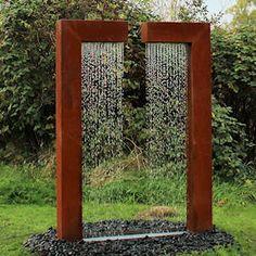 Cortenstahl-Gartenbrunnen Wassertor Nancy mit LED-Beleuchtung
