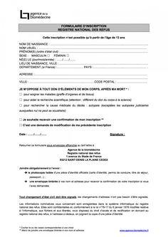 Formulaire d'inscription au registre des refus