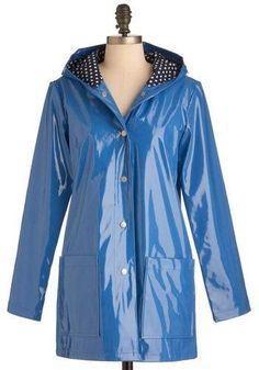 Pretty Slicker Rain Coat In Blue by Louche #RaincoatsForWomenRainyDays