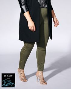 A basic with an edge! This plus-size legging from mblm by Tess Holliday is made with a super stretchy ponte de Roma fabric and has a pull-on waistband for your total comfort. Metallic studs at sides add a bold touch. A versatile fashion piece for weekends and weekdays!