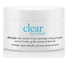 Is the effect of acne breakouts bothering you and your skin? Philosophy's Clear Days Ahead Overnight Repair Salicylic Acid Acne Treatment Pads is the perfect solution for you! These excellent pads hav