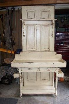 Stand made from old door. Coffee station maybe??