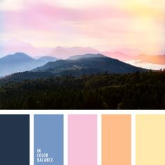Cornflower blue hues complement the combination of glowing pink color with orange-beige tones. This color scheme can be used for decoration of a spacious living room with several thematic areas: leisure, active children's games, family tea and so on. Sunset Color Palette, Purple Color Palettes, Sunset Colors, Colour Pallette, Colour Schemes, Color Combos, Pink Color, Pink Purple, Orange Color