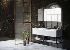 Badkamer meubel met een industriële look in een monochrome kleurstelling op een marmer achterwand. Toilet Design, Dream Rooms, Double Vanity, New Homes, Bathtub, Black And White, Mirror, Furniture, Home Decor