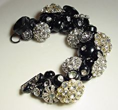 Vintage Button Bracelet Rhinestones Silver and Black (I really like this one)