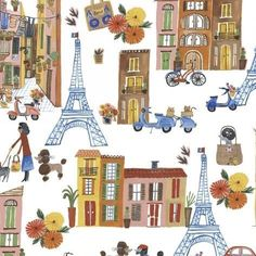 Ooh La La Paris Icons Fabric by Carolyn Gavin - Windham Fabrics Cat Leash, Shops, Windham Fabrics, Wet Bag, Modern Fabric, Cotton Quilts, Baby Sewing, Quilting Projects, Baby Quilts