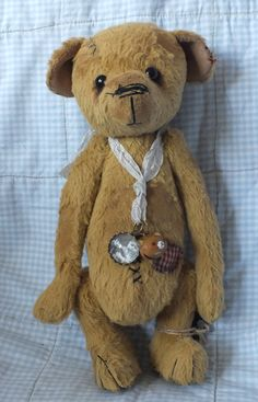 """""""Dusty"""" the old teddy, made from viscose. With bald patches and mending. By Ragtail n Tickle. (Nothing like a worn teddy bear that speaks volumes of love!)"""