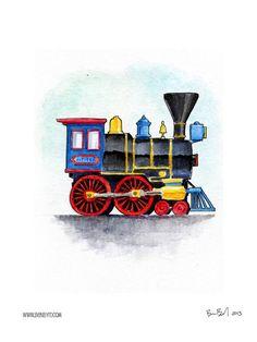 This would look so cute n hs room! Jupiter Steam Locomotive Watercolor by BenByrdArtwork on Etsy Train Illustration, Watercolor Illustration, Boys Train Bedroom, Train Sketch, Train Cartoon, Train Drawing, Baby Art, Steam Locomotive, Drawing For Kids